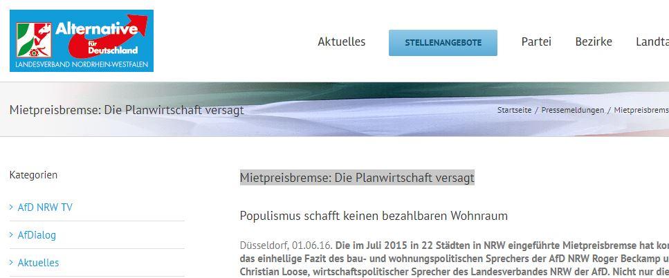 AfD NRW: Mietpreisbremese ist Planwirtschaft