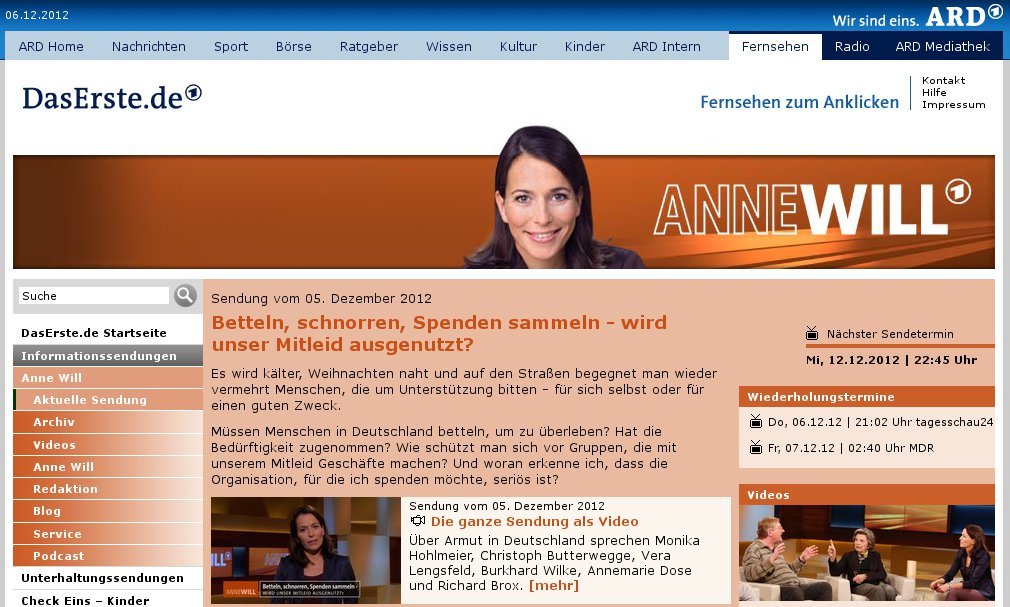 Anne Will über Bettler