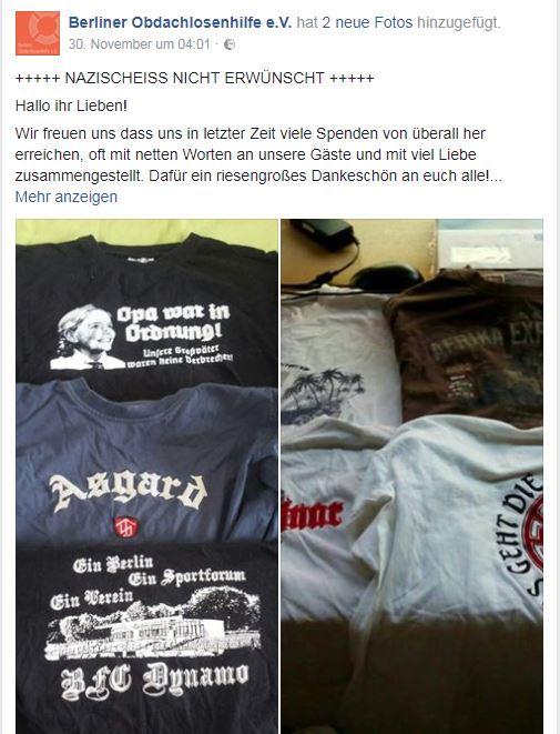 Nzis-Klamotten bei der Berliner Obdachlosenhilfe unerwünscht