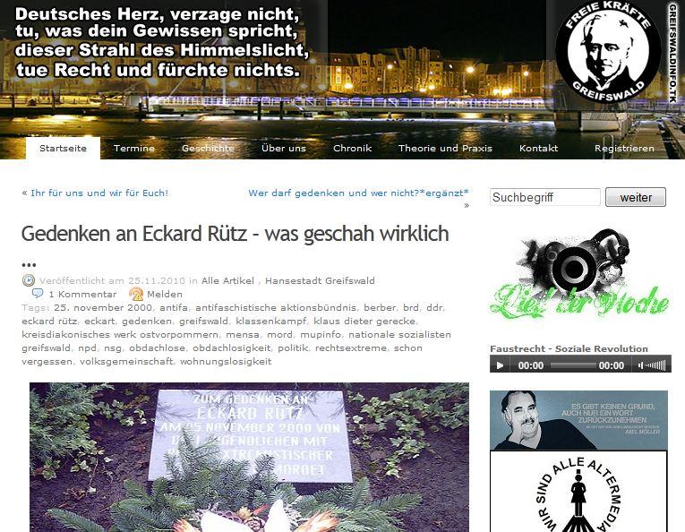 Greifswalder Nazis gedenken ermordeten Obdachlosen