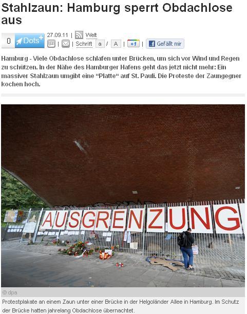 Screenshot Hamburger Mauer gegen Arme